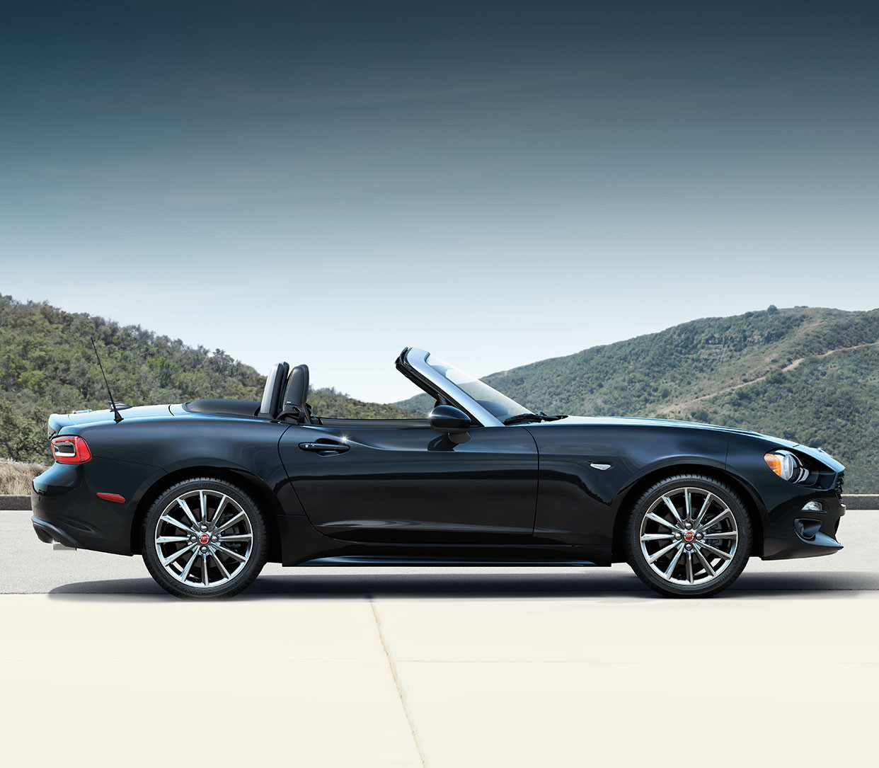2019 Fiat 124 Spider front view, shown in white
