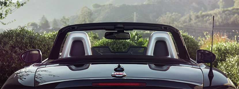 2019 Fiat 124 Spider with top down, view of windshield