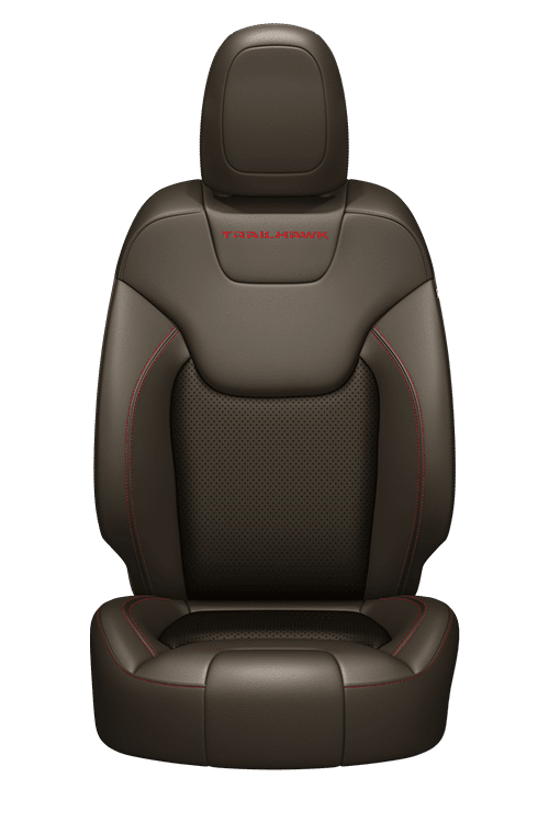 Nappa leather-faced with perforated inserts – Jeep<sub>®</sub> Brown with Red accent stitching