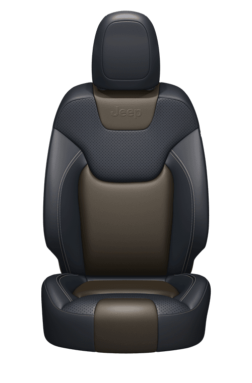 Nappa leather-faced with perforated inserts – Indigo Blue/Jeep<sub>®</sub> Brown with Pearl accent stitching