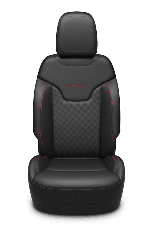 Leather-faced seats with perforated inserts - Black with Ruby Red accent stitching and Trailhawk<sup>®</sup> logo