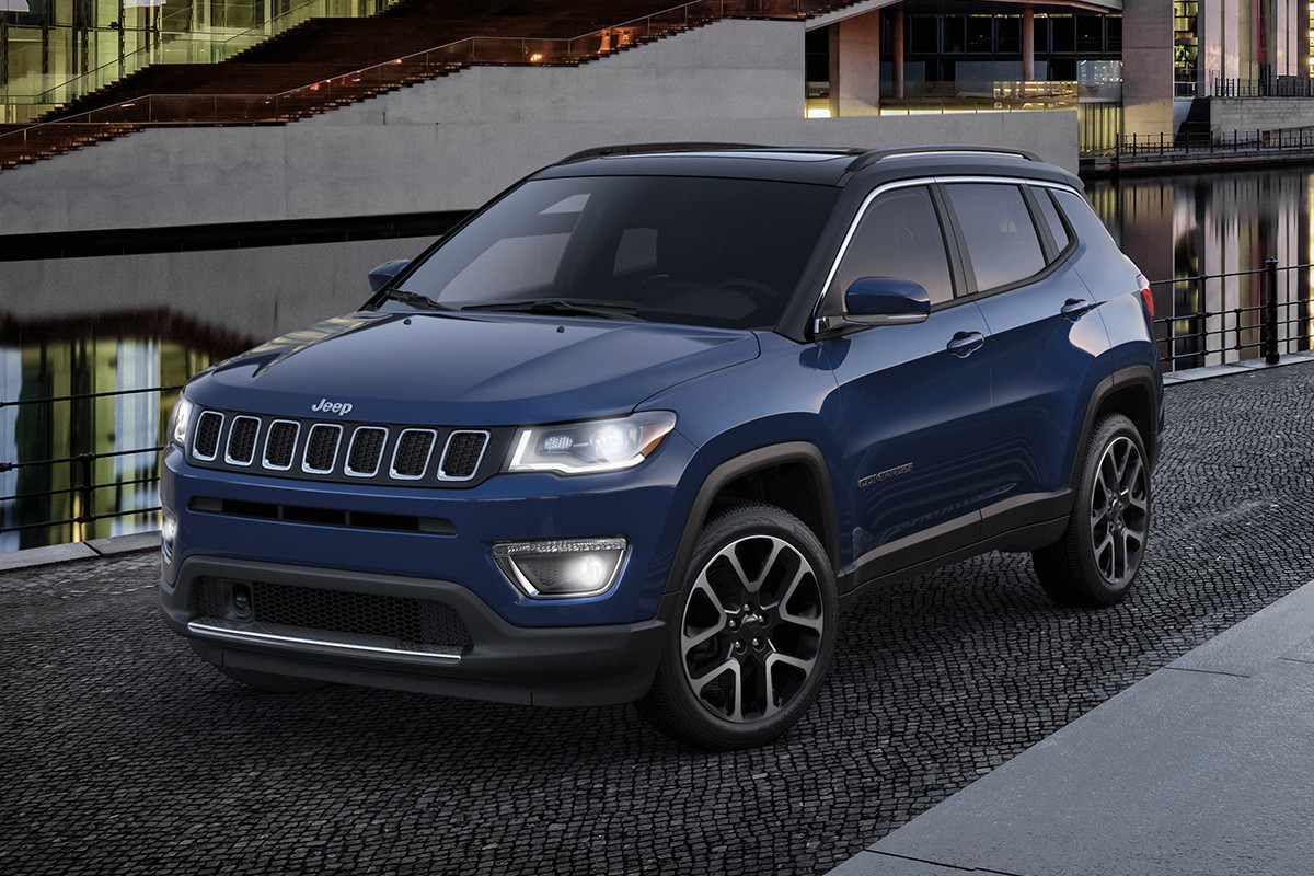 2019 Jeep Compass Trailhawk in jazz blue, parked