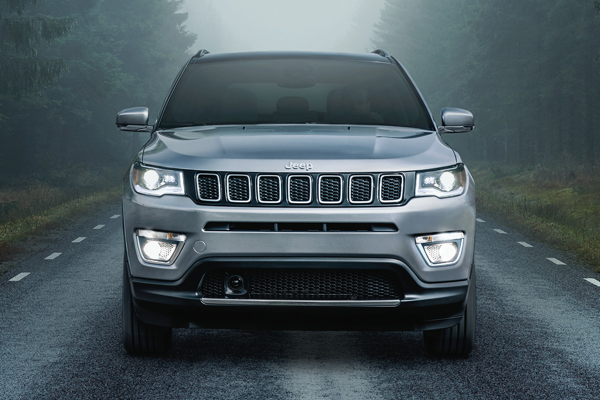 2019 Jeep Compass with headlights on