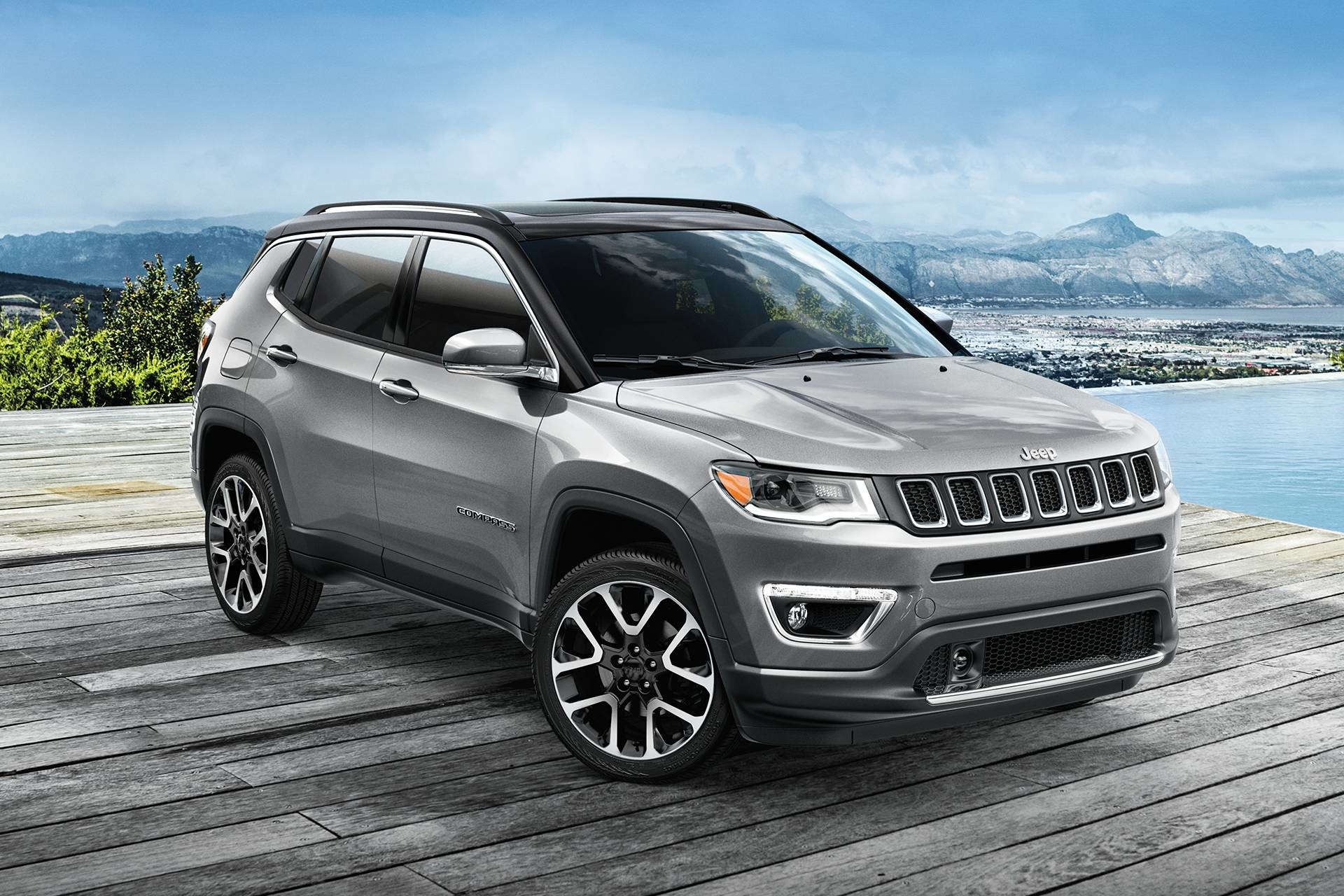 2019 Jeep Compass parked in charcoal grey