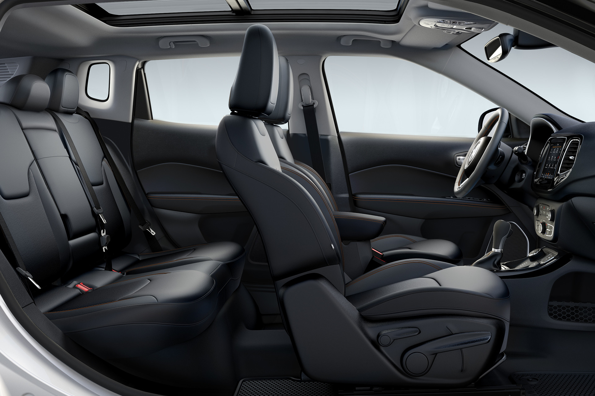 2019 Jeep Compass side view of black cloth seats