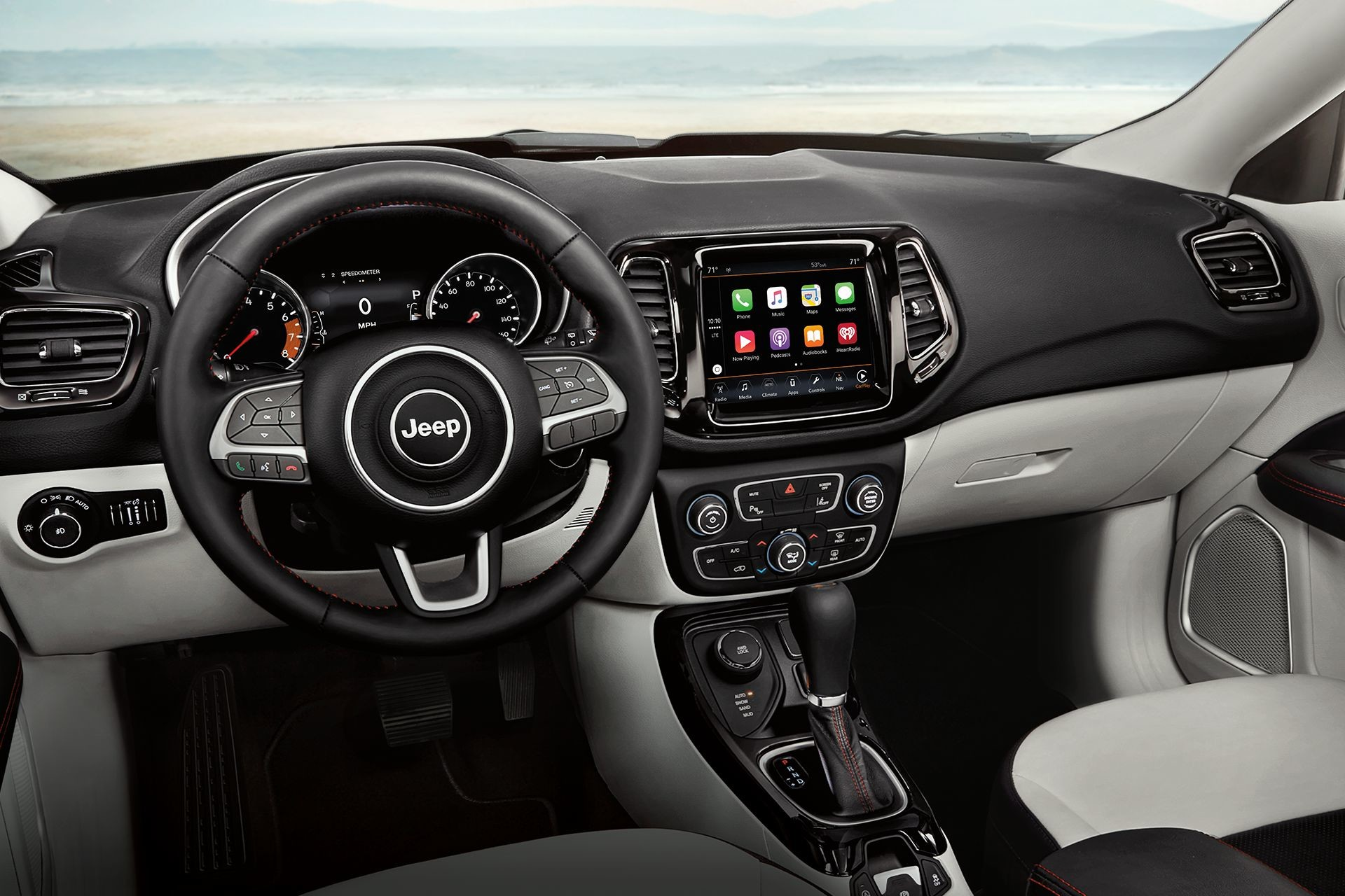 2019 Jeep Compass driver's view of interior console
