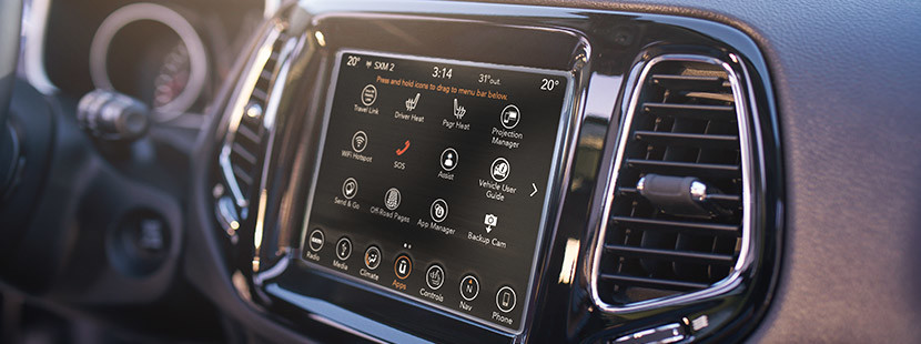 UConnect 8.4-inch touchscreen on a 2020 Jeep Compass.