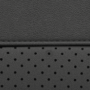 Laguna leather with perforated inserts - Black with Silver embossed SRT<sup>®</sup> or Trackhawk<sup>TM</sup> logo and accent stitching