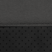 Nappa leather-faced with perforated suede inserts – Black with Ruby Red embroidered Trailhawk<sup>®</sup> logo and accent stitching