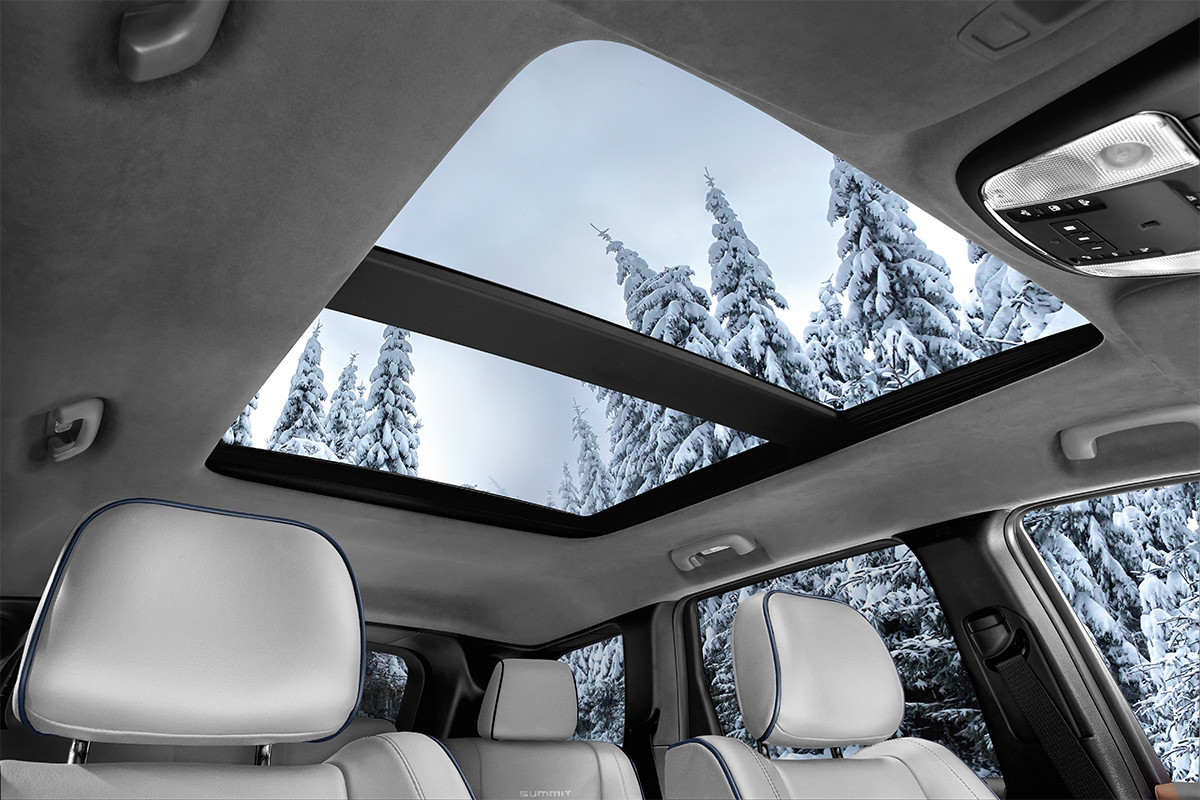 2018 Jeep Grand Cherokee SUV interior with Command-View Dual Pane Panoramic Sunroof