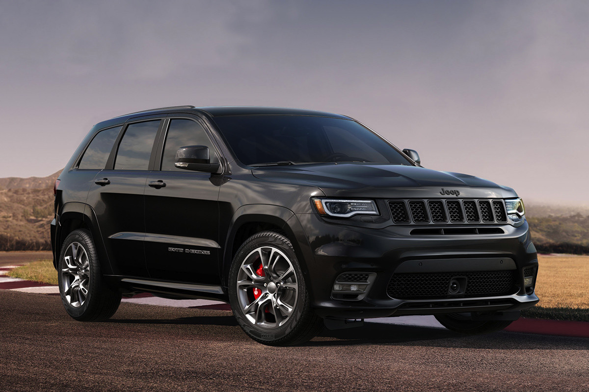 Jeep Grand Cherokee 2019 illustré en gris avec crochets de remorquage rouges à l'avant