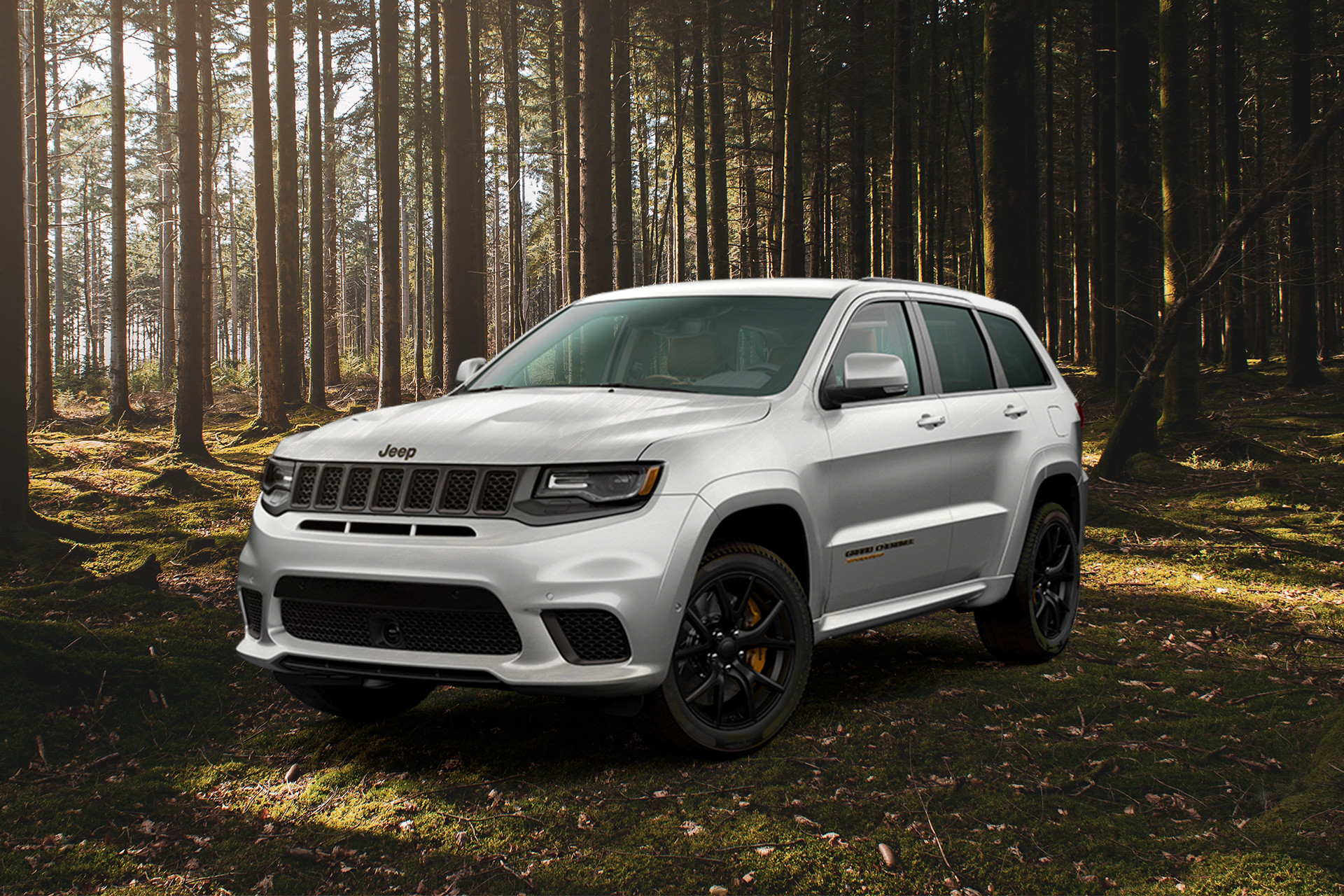 White 2020 Jeep Grand Cherokee parked in the wood