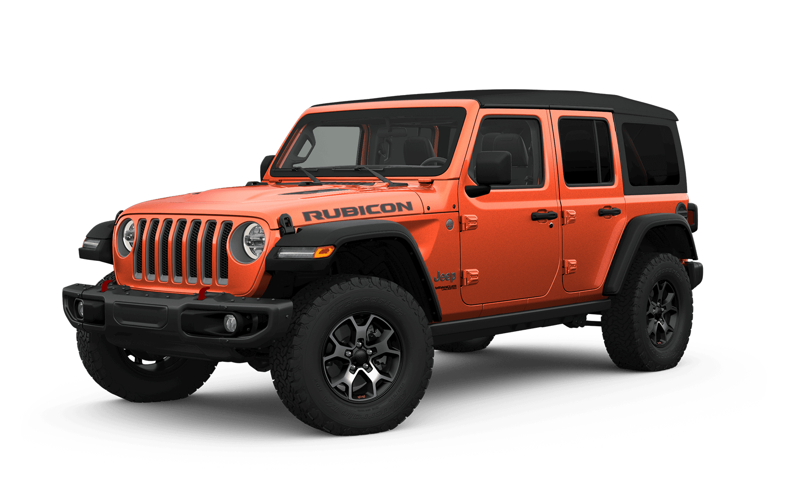 2019 Jeep Wrangler Full View in orange with Wheels
