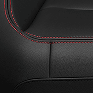 Leather-Faced - Black with Red embroidered Rubicon<sup>®</sup> logo and accent stitching