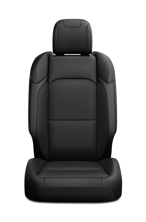 2019 Jeep Wrangler seat in black cloth with logo