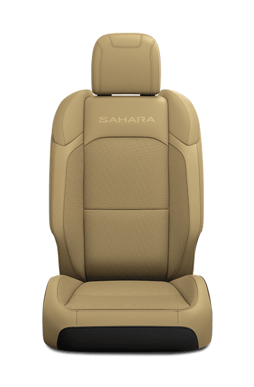 2019 Jeep Wrangler seat in tan cloth with logo