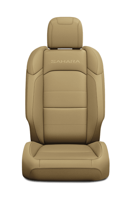 2019 Jeep Wrangler seat leather-faced in tan with logo