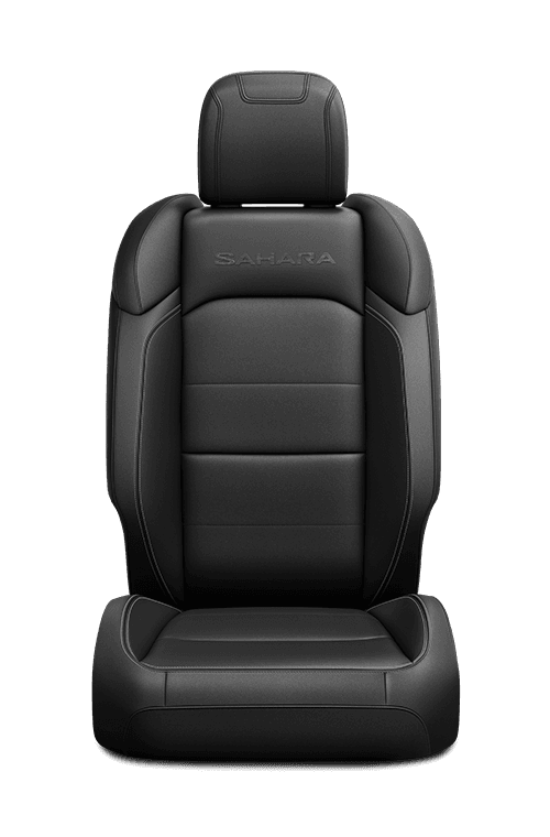 2019 Jeep Wrangler seat leather-faced in black with logo and tungsten accent stitching