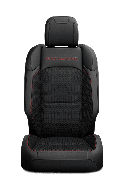 2019 Jeep Wrangler seat leather-faced in black with logo and red accent stitching