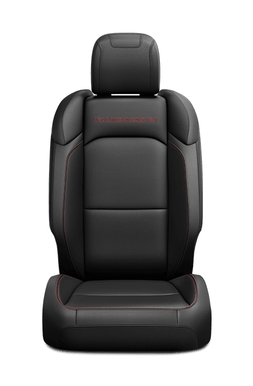 2019 Jeep Wrangler seat leather-faced in tan with logo and tungsten accent stitching