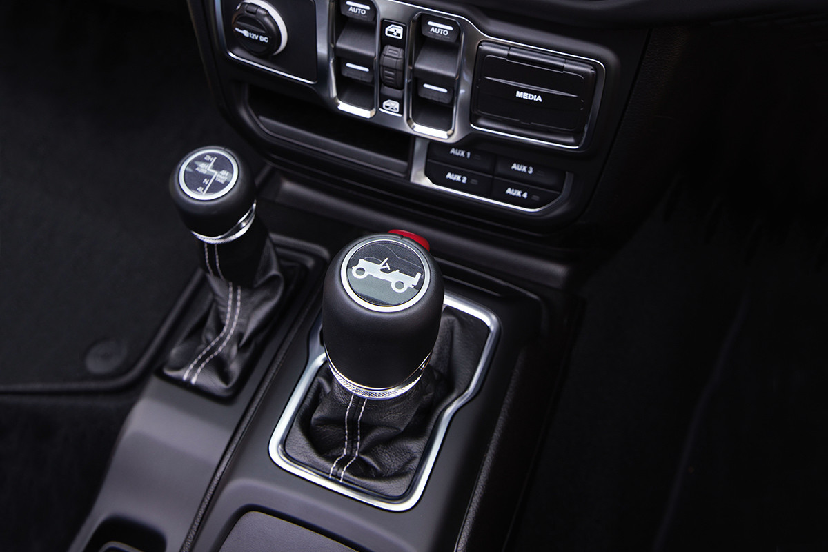 2019 Jeep Wrangler interior, showing centre console and shifter