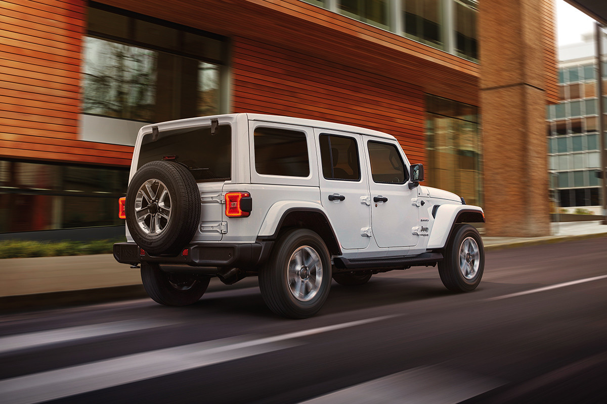 2019 Jeep Wrangler exterior side view, shown in white