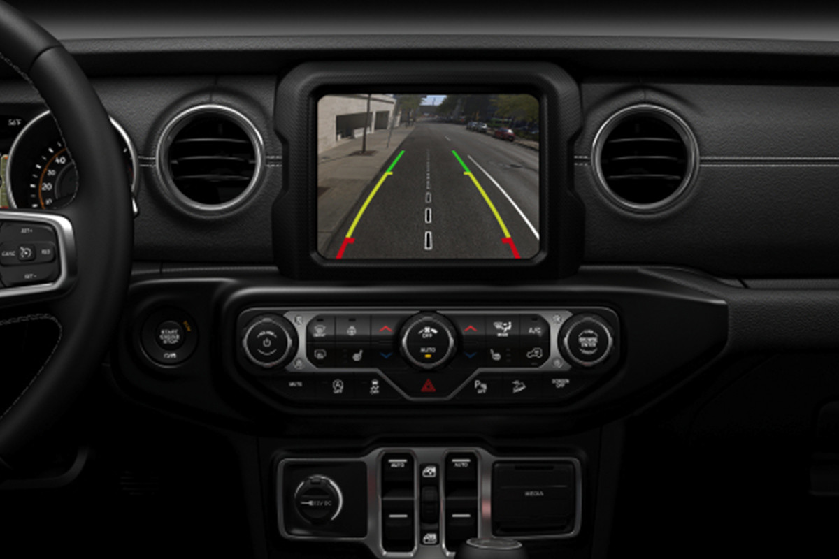 2019 Jeep Wrangler interior, showing rear back-up camera