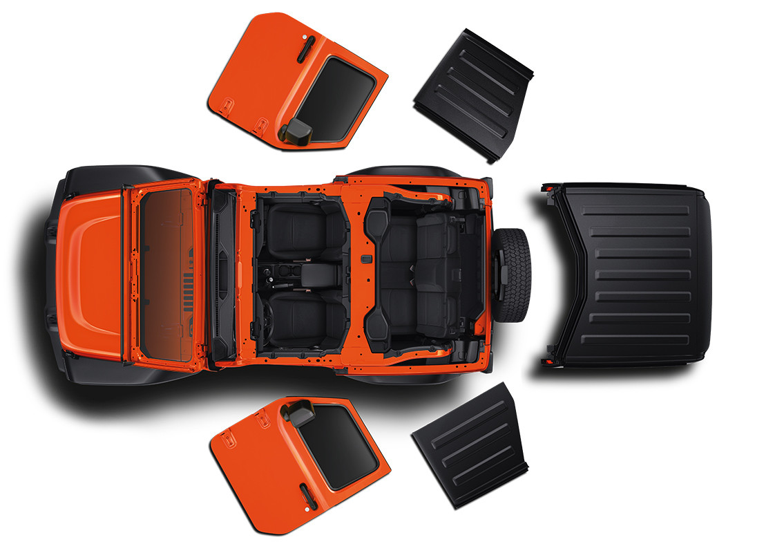 2019 Jeep Wrangler top view showing folding windshield