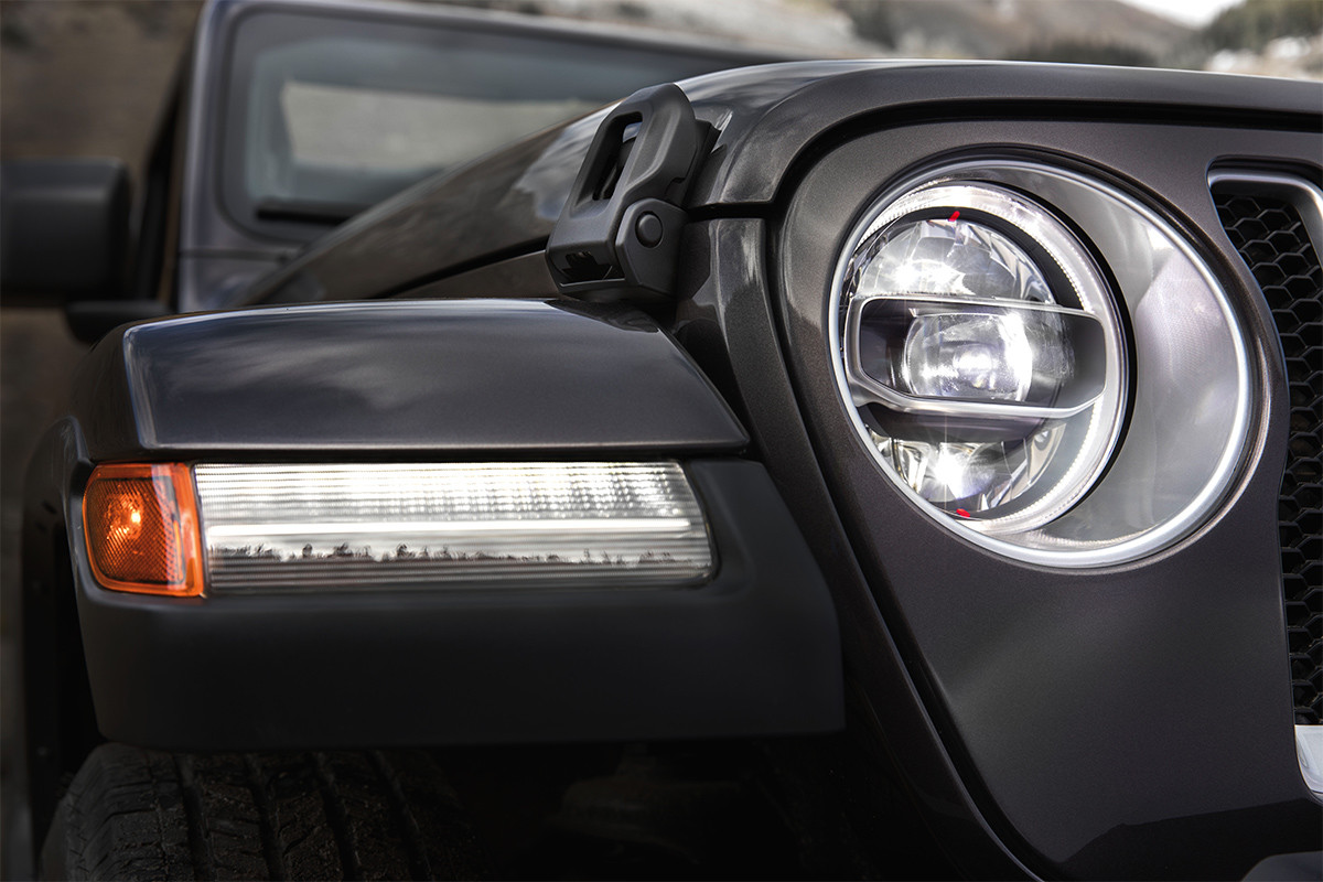 2019 Jeep Wrangler front view of LED lights, shown in black