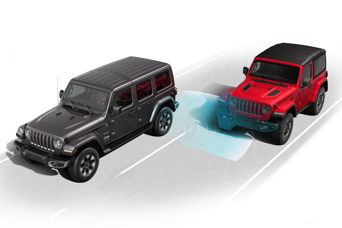 2019 Jeep Wrangler exterior, showing active safety features