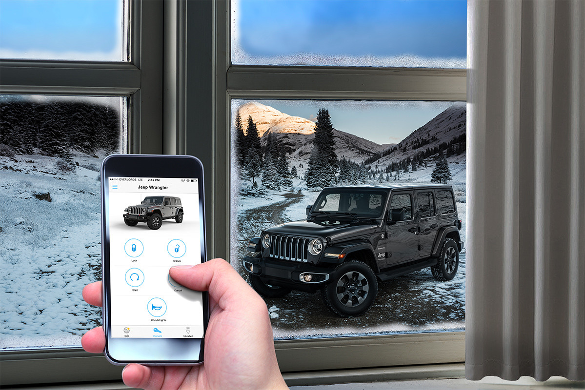 2019 Jeep Wrangler exterior, shown outside on snowy terrain