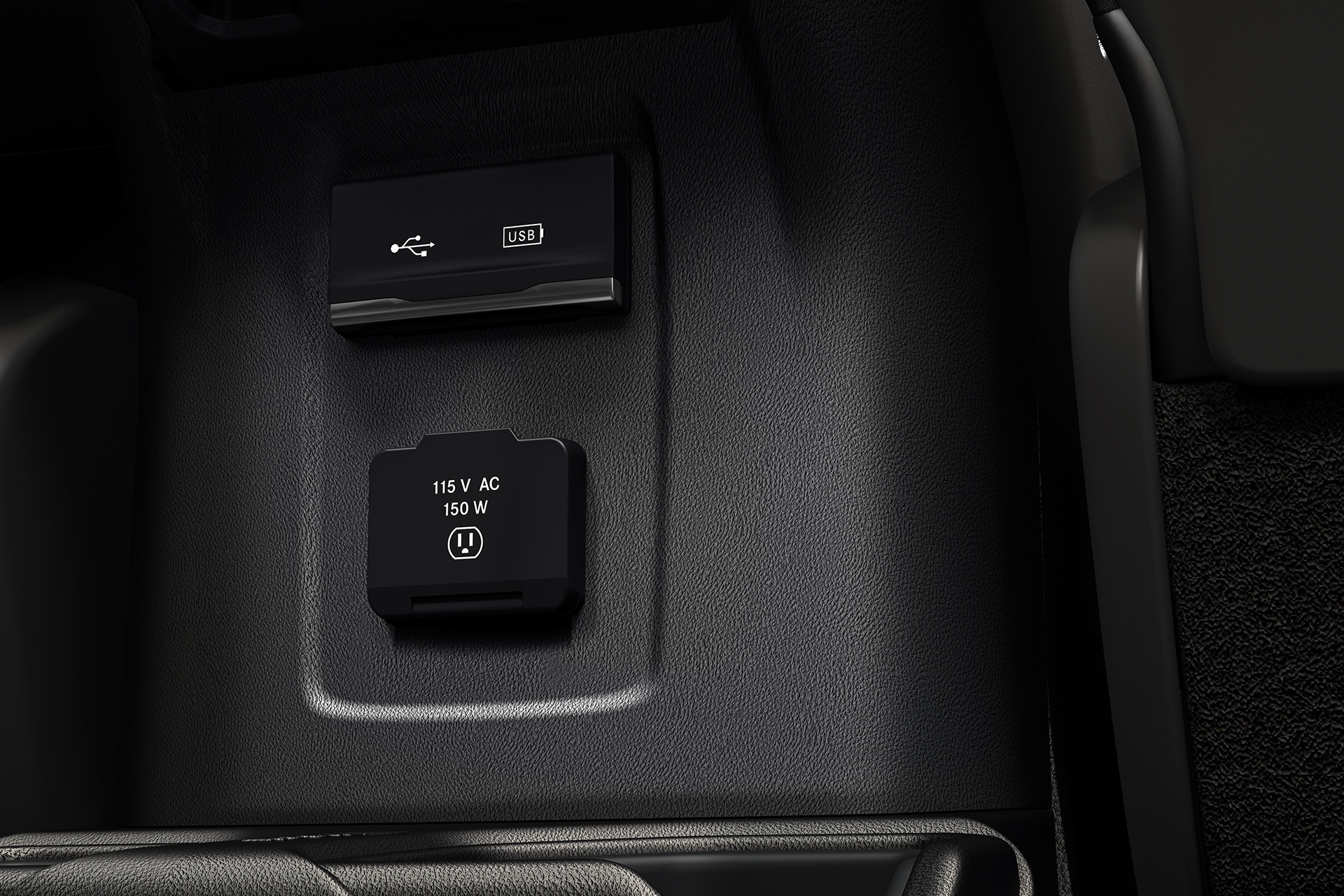 2019 Jeep Wrangler interior, showing power outlet and usb ports