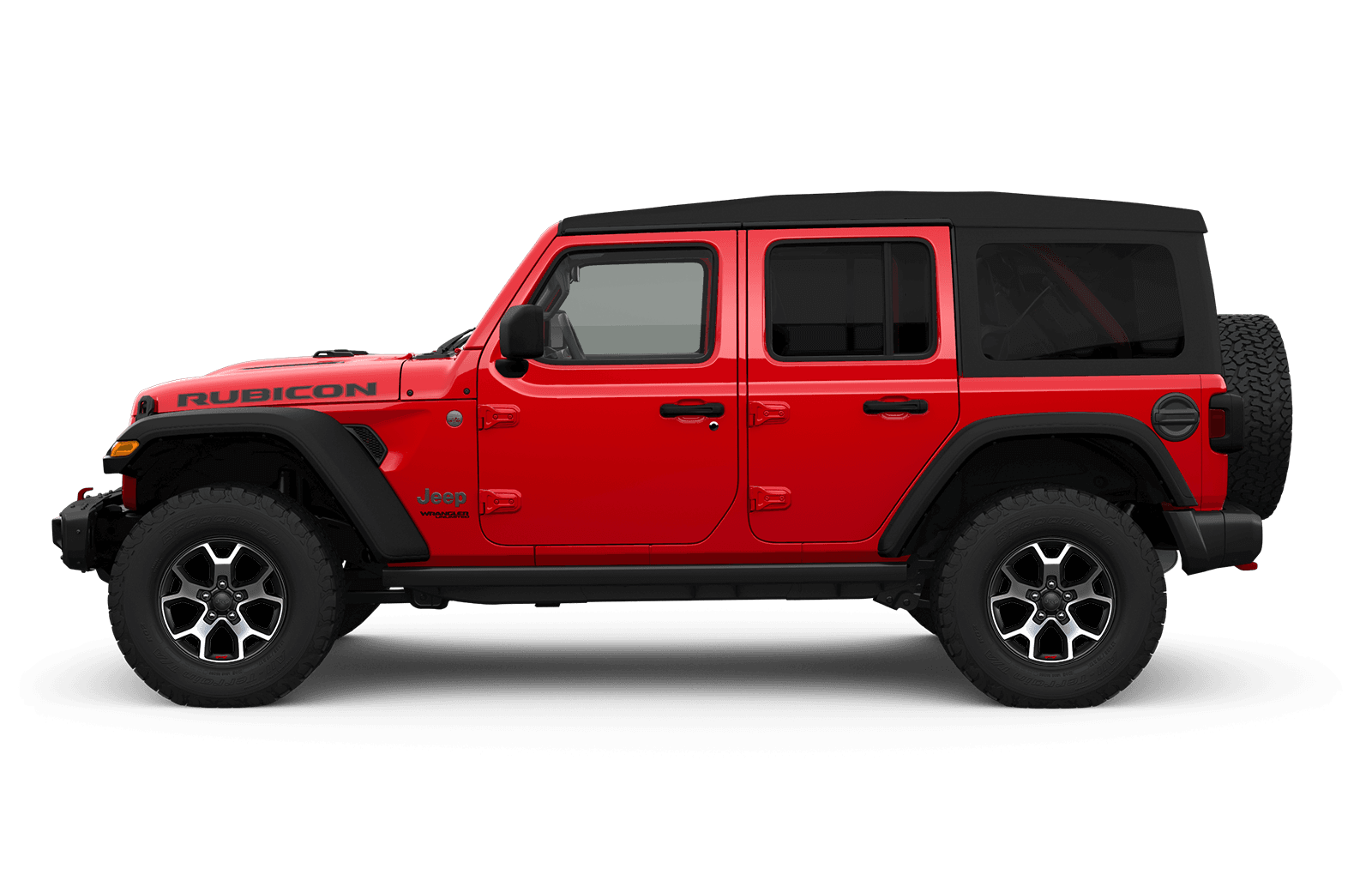 2019 Jeep Wrangler sideview with 17-inch aluminum wheel with black pockets