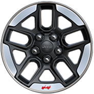 2019 Jeep Wrangler with 17-inch black aluminum wheel with polished lip