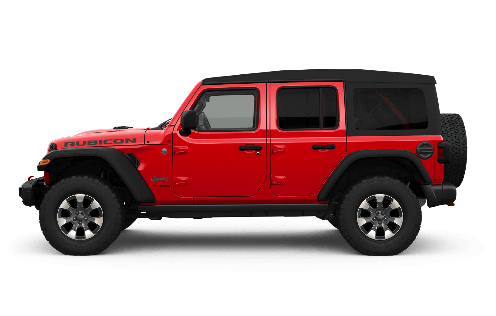 2019 Jeep Wrangler sideview with 18-inch tech grey inserts aluminum wheel