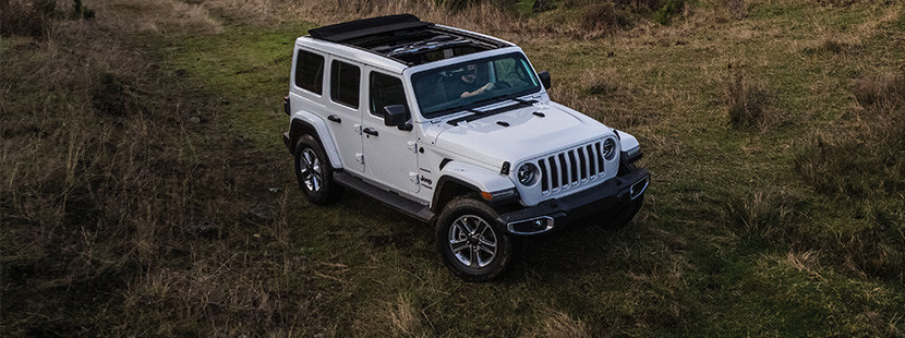 White 2020 Jeep Wrangler, parked on top of a grassy hill, with trees, hills, and mountains in the background.