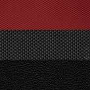 High-durability technical grain vinyl with cloth embossed tire-tread pattern inserts – <br>Black/Radar Red with Light Slate Grey embroidered Rebel<sup>®</sup> logo and accent stitching