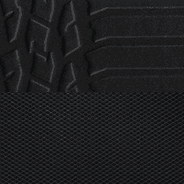 High-durability technical grain vinyl with cloth embossed tire-tread pattern inserts – <br>Black with Light Slate Grey embroidered Rebel<sup>®</sup> logo and accent stitching
