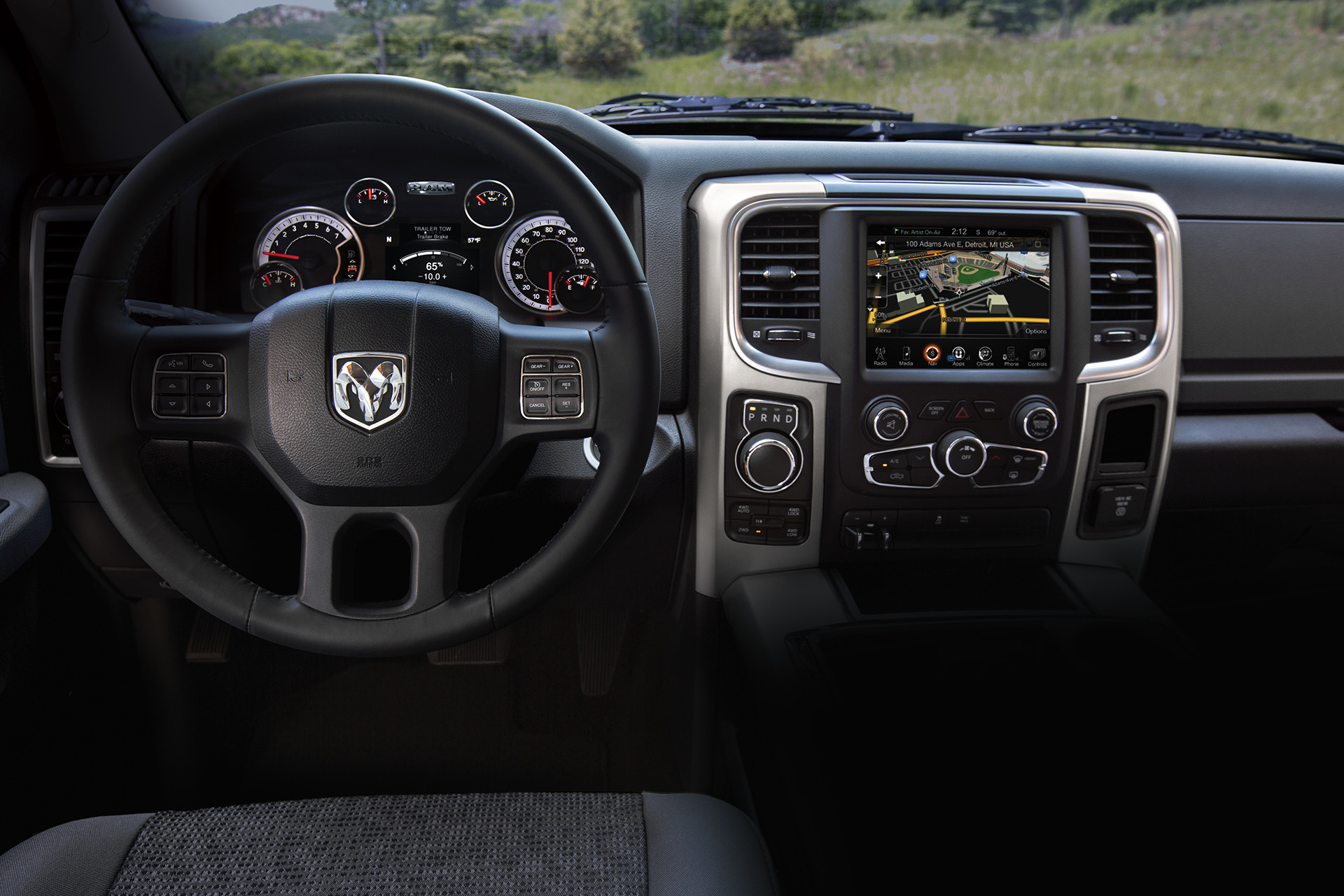 2019 Ram 1500 Classic interior, showing in-cluster display and Uconnect multimedia centre