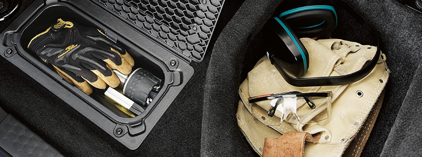 Overhead shot of floor storage in the 2019 Ram 1500 Classic