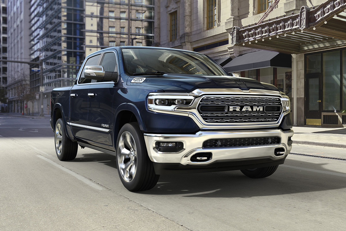 2019 Ram 1500 Limited blue exterior in city