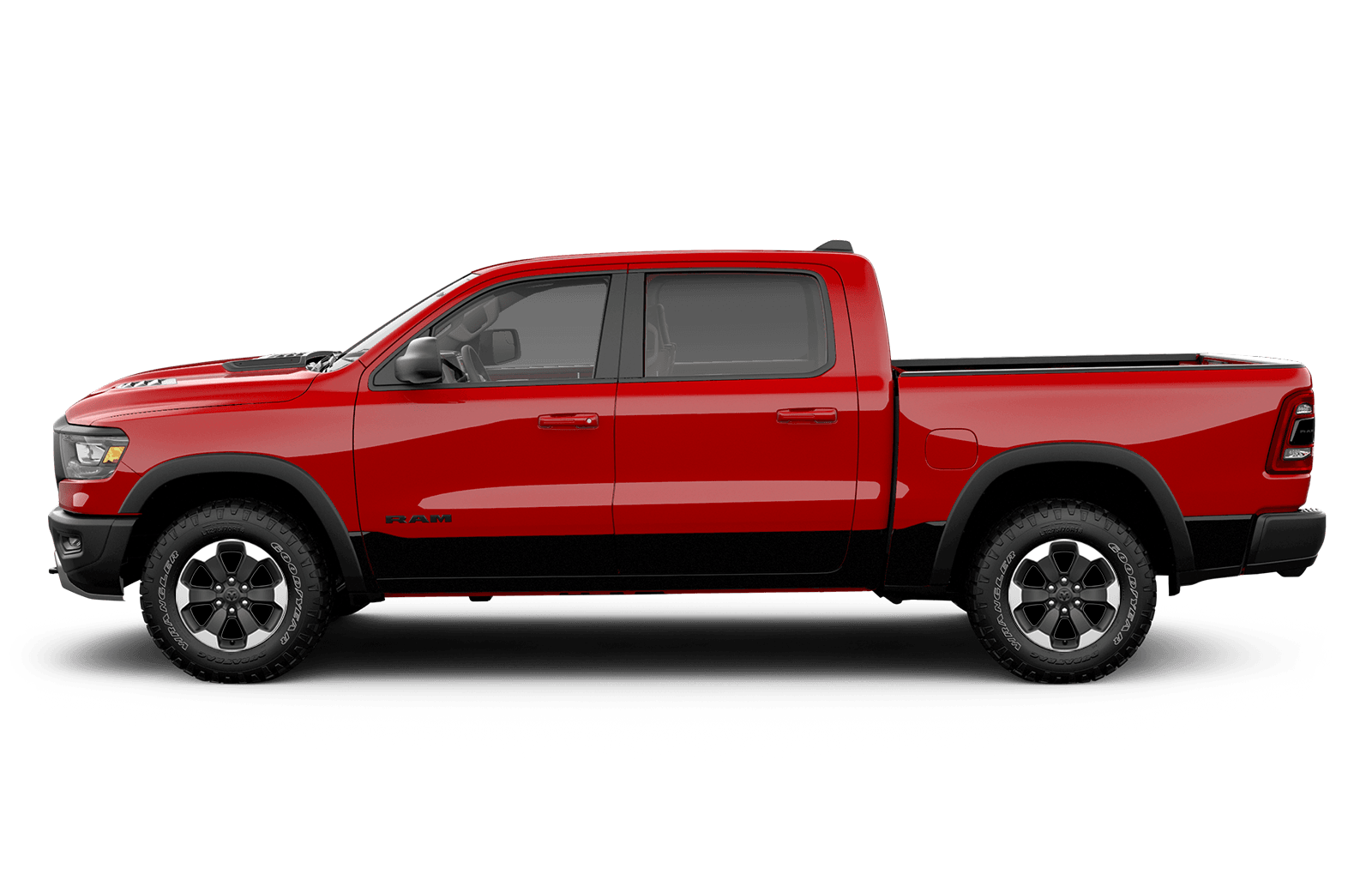 2019 Ram 1500 18inch painted black aluminum wheels on red truck