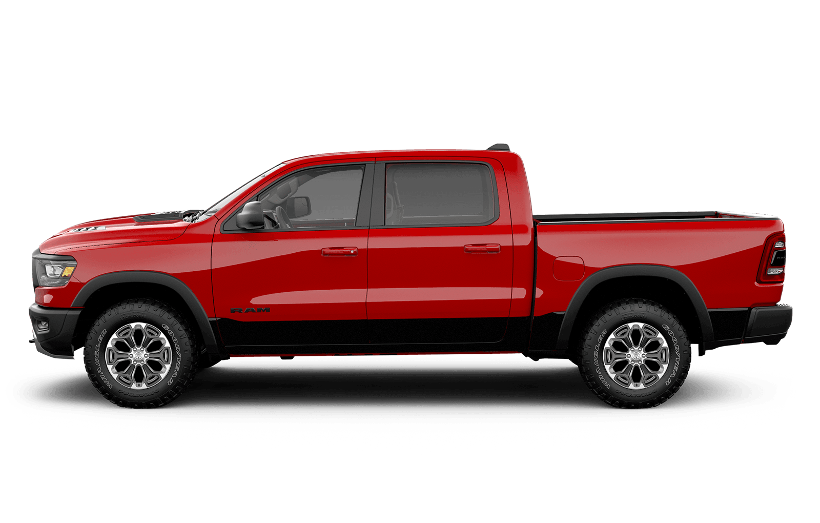 2019 Ram 1500 22inch polished painted aluminum on red truck