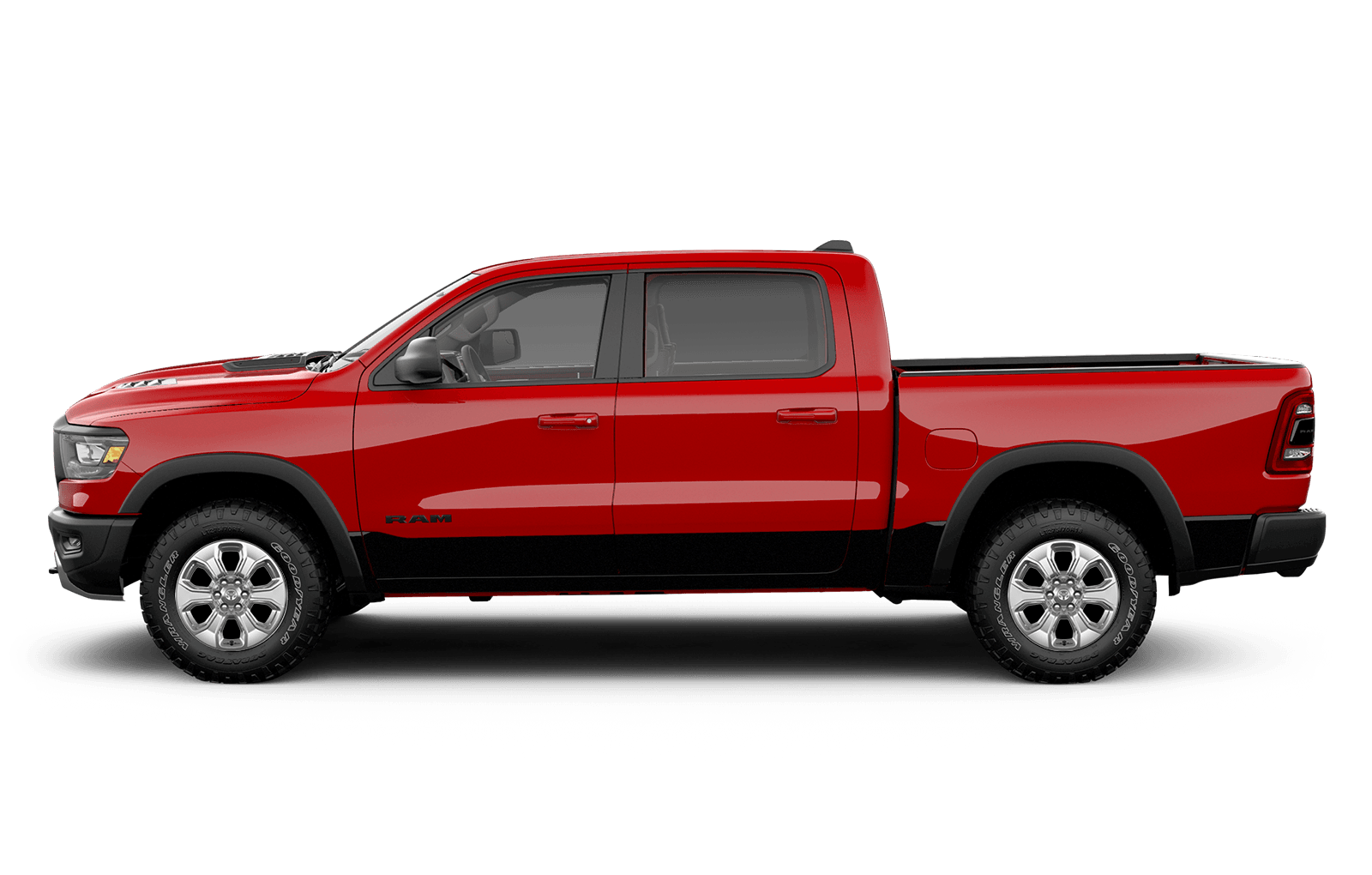 2019 Ram 1500 20inch chrome clad aluminum wheels on red truck