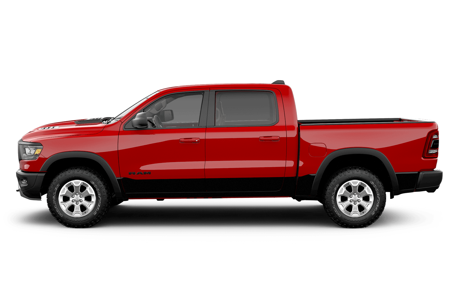 2019 Ram 1500 20inch chrome clad aluminum wheels on red truck available on Big Horn