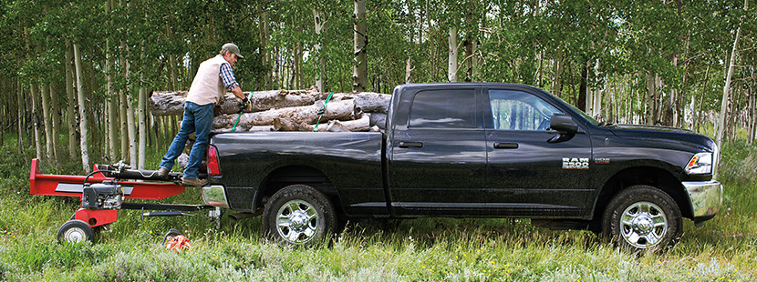 Man Loading Wood Logs Onto the Back of His Black Ram 2500 Inside a Forest