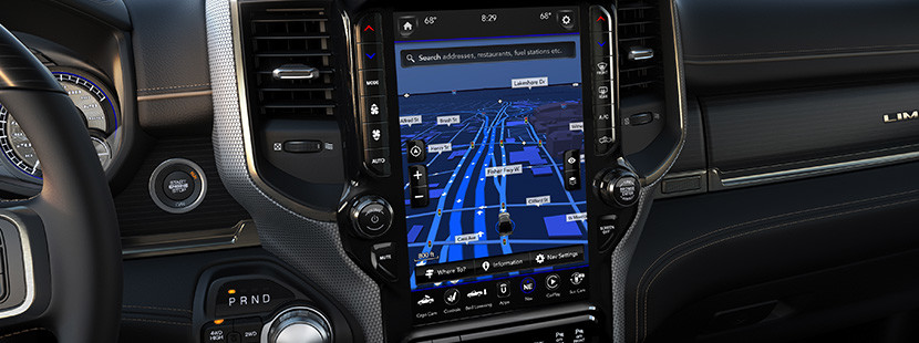 Close-up of the new 2019 Ram 2500 12-inch touch screen and multimedia system