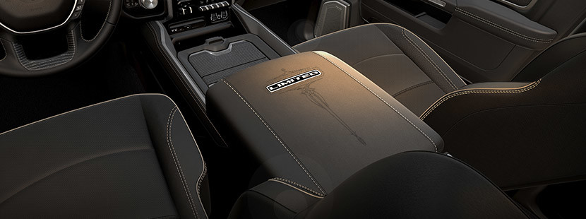 Centre console of the 2020 Ram 2500 showing 12inch touchscreen navigation