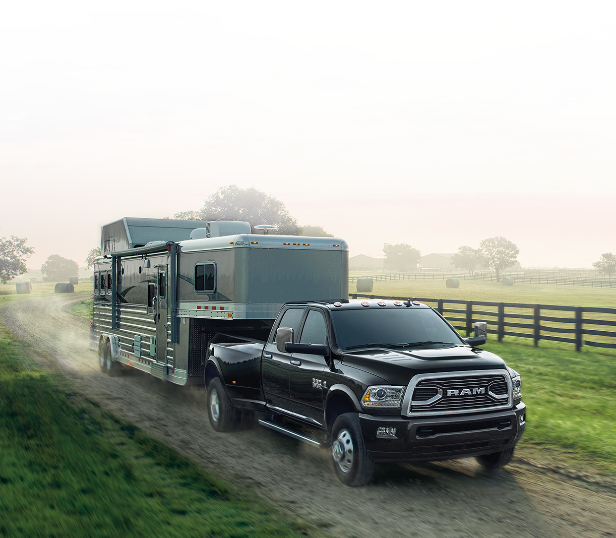 2018 RAM 3500 truck towing trailer