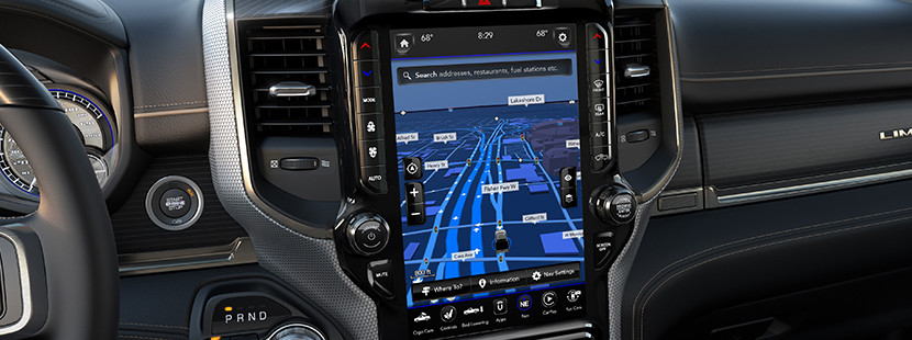 2019 Ram 3500 interior showing Uconnect screen with navigation.